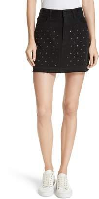 Frame Le Mini Embellished Denim Skirt