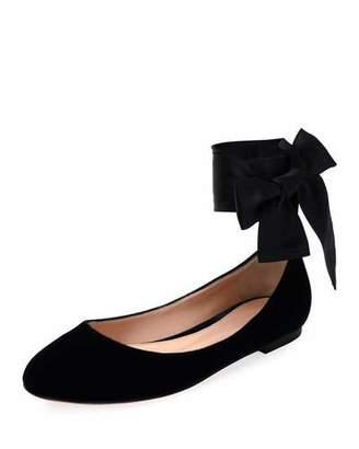 Gianvito Rossi Velvet Ankle-Wrap Ballet Flat, Black