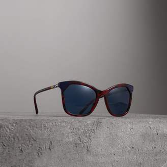 Burberry Marble-effect Square Frame Sunglasses, Red