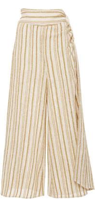 Rosie Assoulin Draped Striped Cotton-Blend Voile Culottes