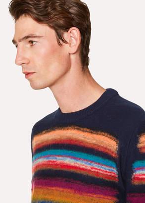 Paul Smith Men's Navy Wool-Blend Multi-Coloured Stripe Sweater