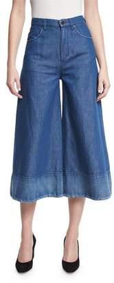 Co Denim Wide-Leg Cropped Pants, Blue