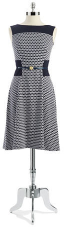 Anne Klein Hexagon Patterned Sleeveless Dress