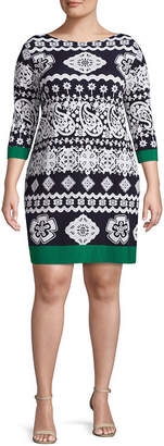 Tiana B 3/4 Sleeve Paisley Shift Dress - Plus