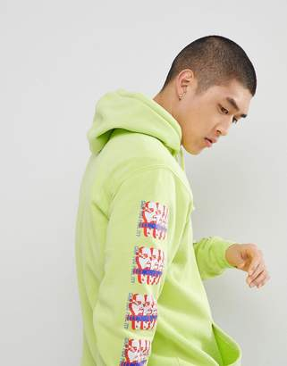 Obey Pigment Dyed Hoodie With Sleeve Print In Yellow