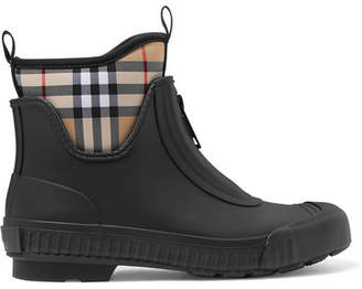 Burberry Checked Canvas And Rubber Rain Boots - Black