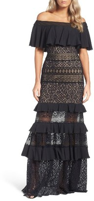 Women's Tadashi Shoji Off The Shoulder Tiered Gown $588 thestylecure.com