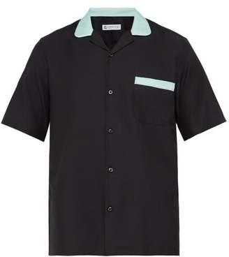 Cobra S.C. Cobra S.c. - Contrast Collar Cotton Silk Poplin Bowling Shirt - Mens - Black Blue