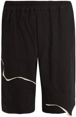 BY WALID Spliced detail linen bermuda shorts