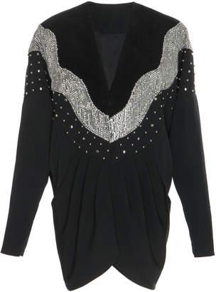Isabel Marant Victoria Embellished Wool-Crepe Mini Dress Size: 34