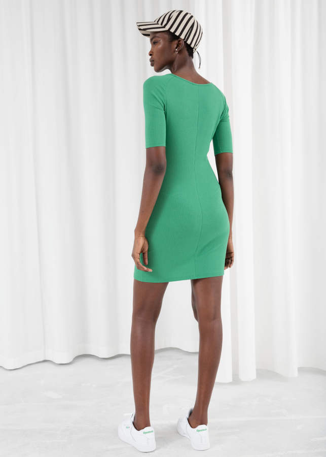 Ribbed Fitted Mini Dress