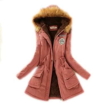 MZAR Women's Faux Fur Winter Warm Hooded Cotton-Padded Coat Parka Long Jacket