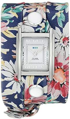 La Mer Women's LMSTWEXL020 Navy Magnolia Print Analog Display Quartz Multi-Color Watch