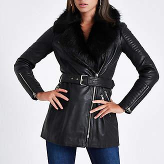 River Island Black faux fur trim leather belted coat