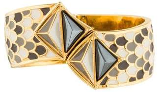 Kara Ross Kara by Modernist Ornate Enamel Clamper Bracelet