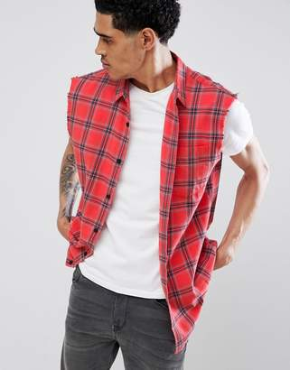 New Look Sleeveless Shirt In Regular Fit In Red Check