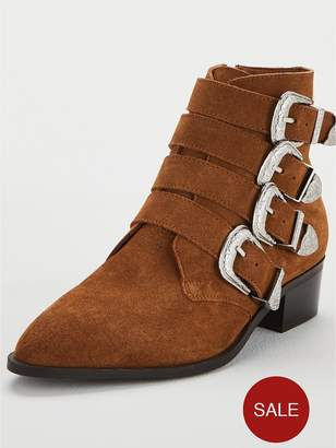 Very Wide Fit Florence Real Suede Western Buckle Strap Ankle Boot - Tan