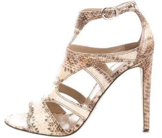 Sergio Rossi Snakeskin Cutout Sandals w/ Tags