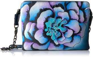 Anuschka Anna by Women's Genuine Leather Small Cross-Body Handbag | Zip-Top Multi-Compartment Organizer | Marigold Denim