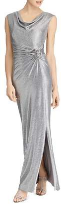Ralph Lauren Metallic Cowl-Neck Gown