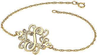 JCPenney FINE JEWELRY Personalized 14K Gold Over Sterling Silver 20mm Monogram Bracelet