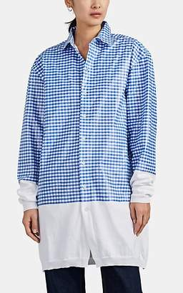 Y/Project Women's Coated Gingham Cotton Shirt - Blue