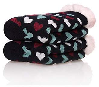 ONLINE Women's Winter Fleece Knit Non Slip Warm Fuzzy Cozy Slipper Socks