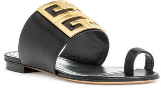 Givenchy Black leather 4G Flat Sandals