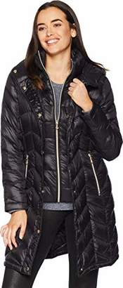 Calvin Klein Women's Long Packable Down Jacket with Bib and Hood