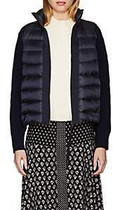 Moncler Women's Wool-Accented Down-Quilted Zip-Front Sweater - Navy