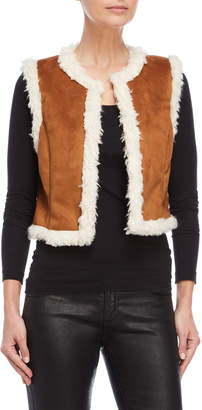 Central Park West Faux Fur and Suede Sleeveless Vest