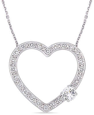 HBC CONCERTO Silver Gemstone Sterling Silver and White Sapphire Heart Necklace