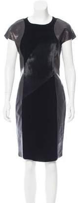 Prada Leather & Velvet Sheath Dress
