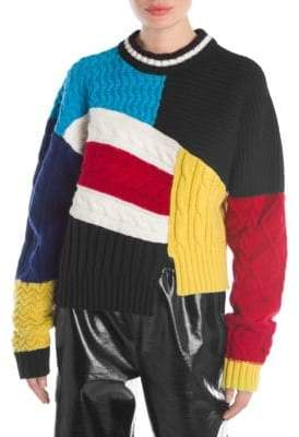 MSGM Colorblock Patchwork Sweater