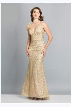 Dave and Johnny Gold Embroidered Gown