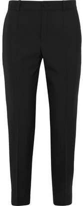 Lanvin Satin-Trimmed Cropped Canvas Slim-Leg Pants