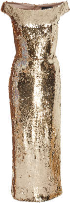 Saloni Exclusive Therese Off-The-Shoulder Sequin Midi Dress
