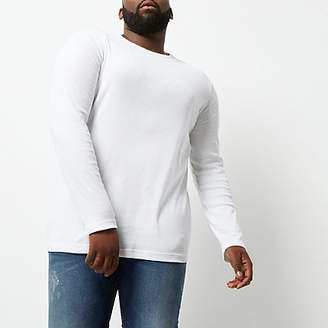 River Island Big and Tall white long sleeve T-shirt