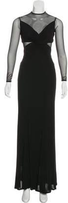 Herve Leger Mesh-Trimmed Maxi Dress