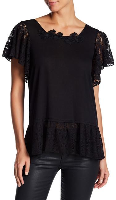 Anna SuiAnna Sui Knit Lace Flutter Sleeve Peplum Top