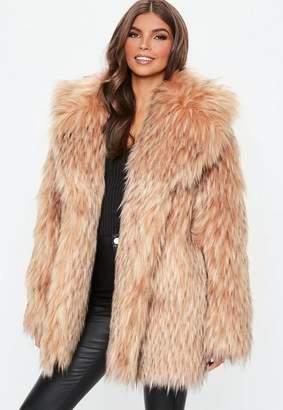 Missguided Blush Tipped Premium Faux Fur Collar Coat