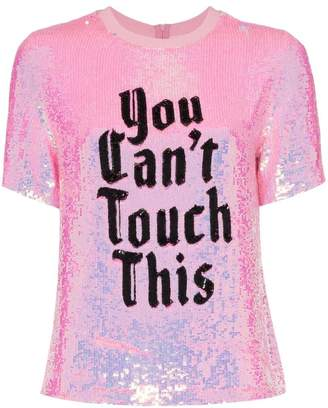 1591344f Ashish x browns you can't touch this sequin T-shirt