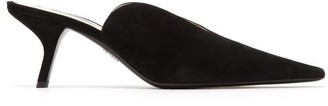 Prada Point Toe Suede Mules - Womens - Black