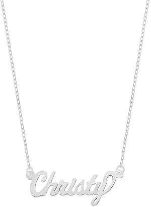 """Sterling 18"""" Polished Personalized Name Plate Necklace"""