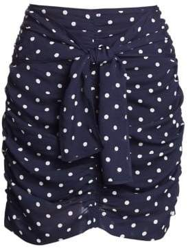 Tanya Taylor Ava Ruched Polka Dot Silk Mini Skirt