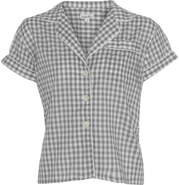 Steven Alan Gingham Cropped Pajama Top