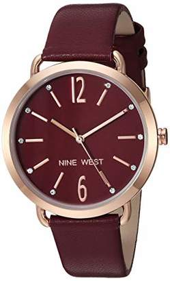 Nine West Women's NW/2204RGBY Crystal Accented Rose Gold-Tone and Burgundy Strap Watch
