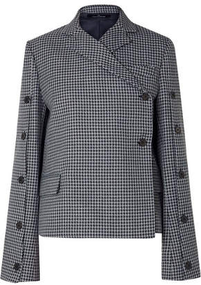Rokh - Button-embellished Houndstooth Tweed Blazer - Gray