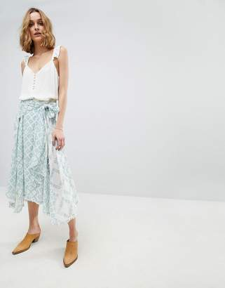 Free People Luna Light Printed Midi Skirt