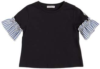 Moncler Cotton Jersey T-Shirt W/ Ruffled Cuffs
